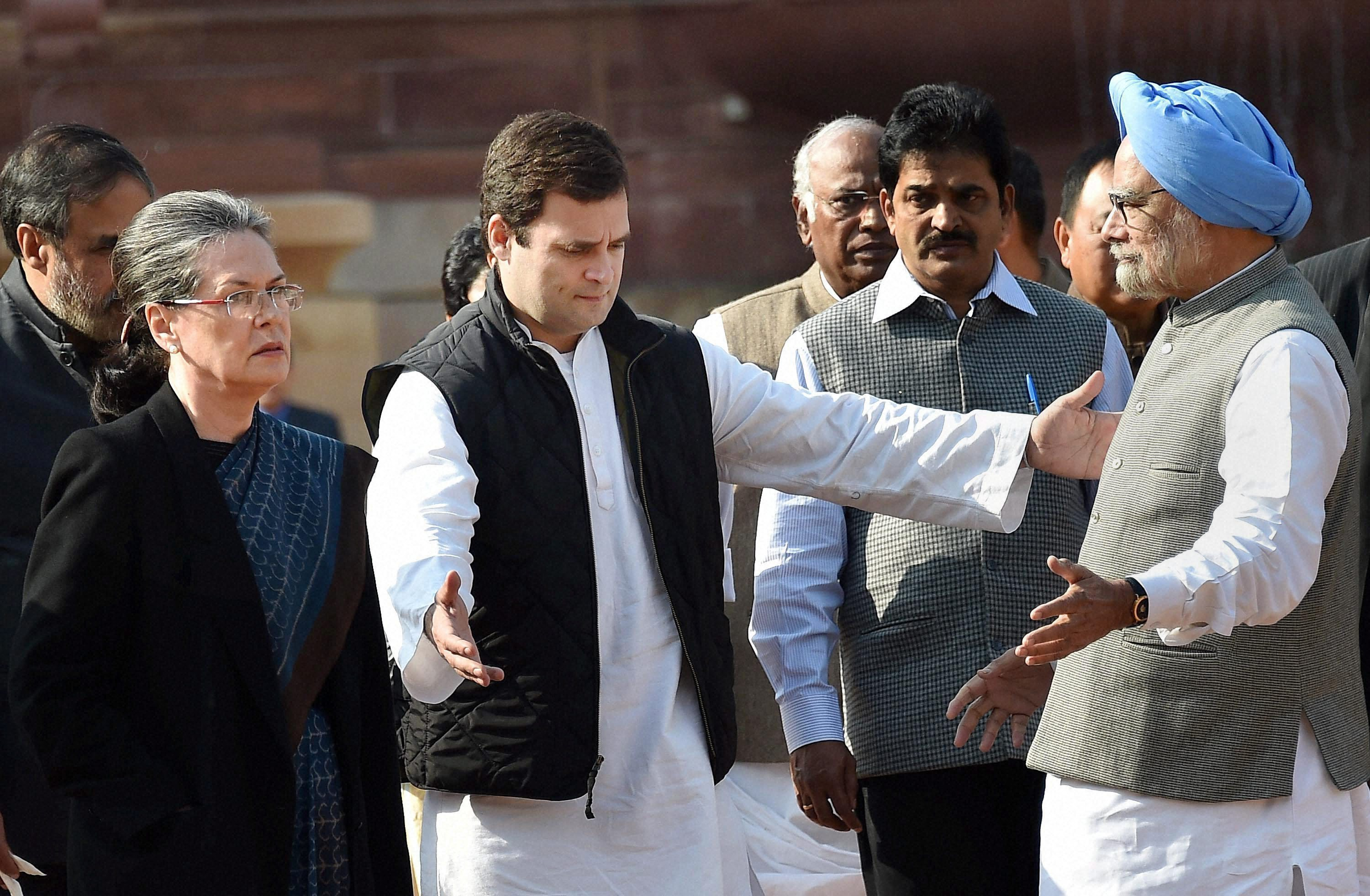 Congress President Sonia Gandhi with party Vice President Rahul Gandhi, former PM Manmohan Singh and other party leaders after meeting with President Pranab Mukherjee at Rashtrapati Bhavan in New Delhi on Wednesday. Credit: PTI Photo by Vijay Kumar Joshi