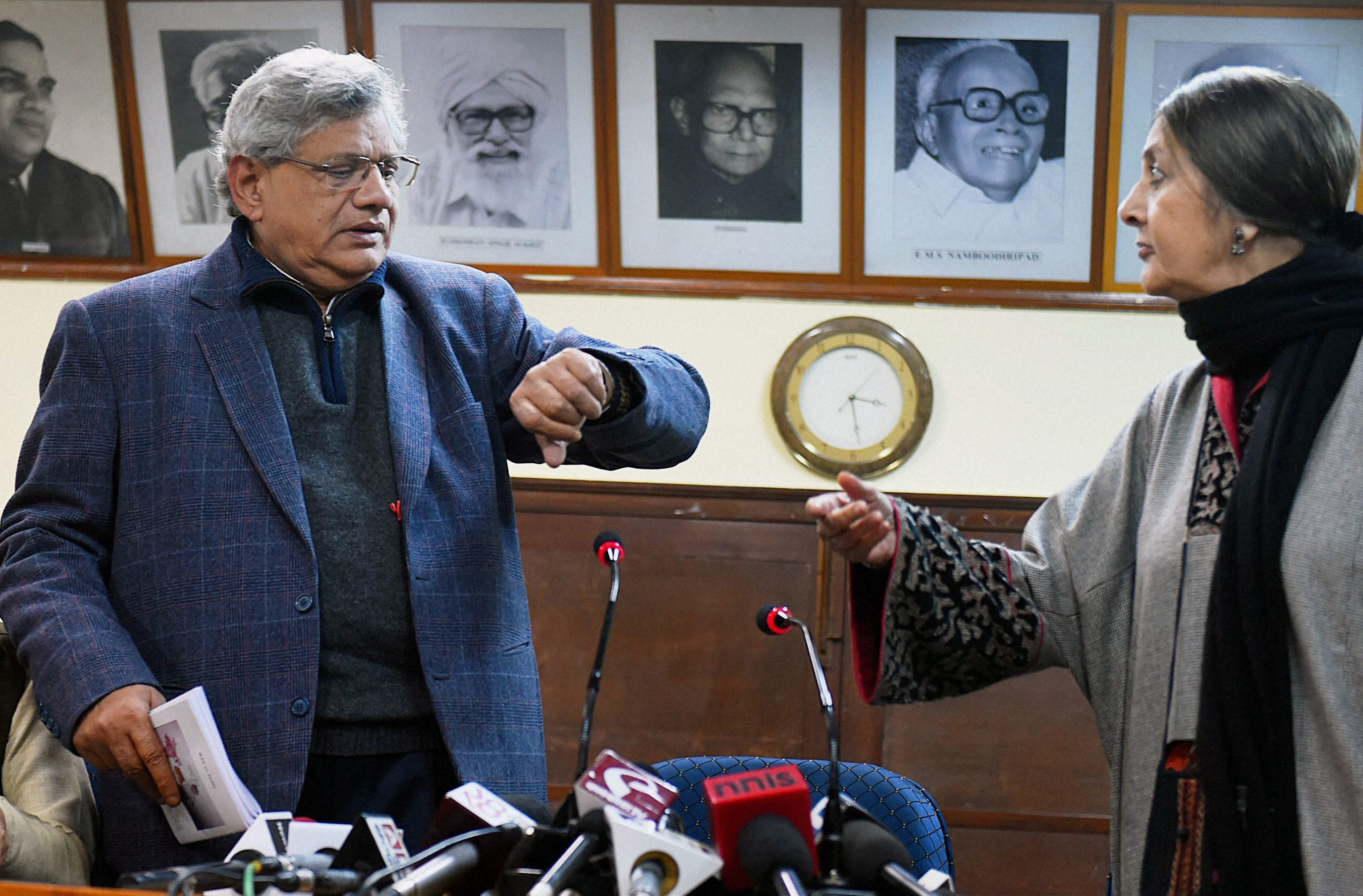 The Clock is Ticking, Comrades: General Secretary of the Communist Party of India (Marxist) Sitaram Yechury with politburo member Brinda Karat at the party's headquarters in New Delhi on Monday. Credit: PTI Photo by Shahbaz Khan