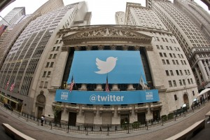 A Twitter banner draped over the NYSE for Twitter's IPO. Credit: quintanomedia/Flickr, CC BY 2.0