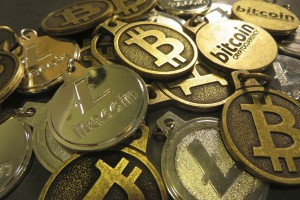 A pile of bitcoin and litecoin keychains. Credit: btckeychain/Flickr, CC BY 2.0
