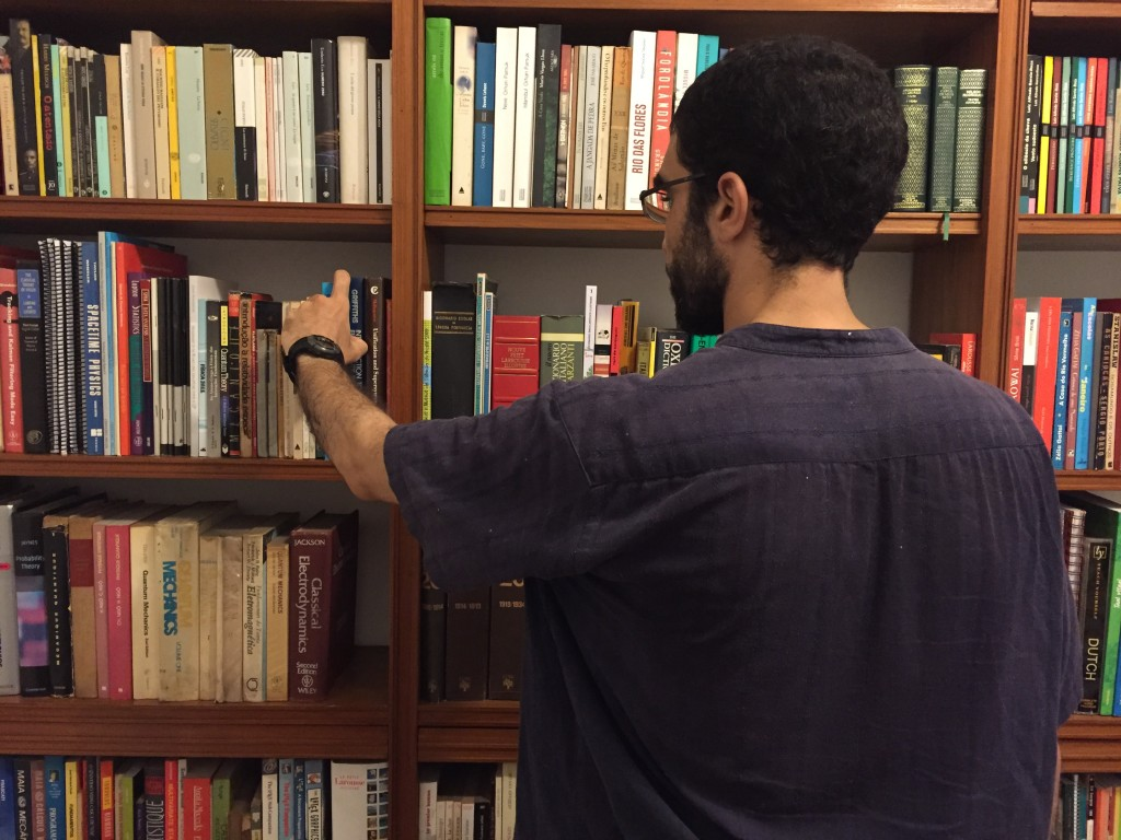 The French-Algerian scientist in the study of a friend. A voracious reader, Hicheur kept his sanity in prison by poring over books on science, politics, poetry and spirituality. Photo: Shobhan Saxena