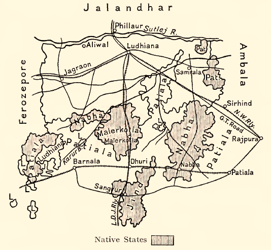 A 1911 map showing Malerkotla and the neighbouring princely states.