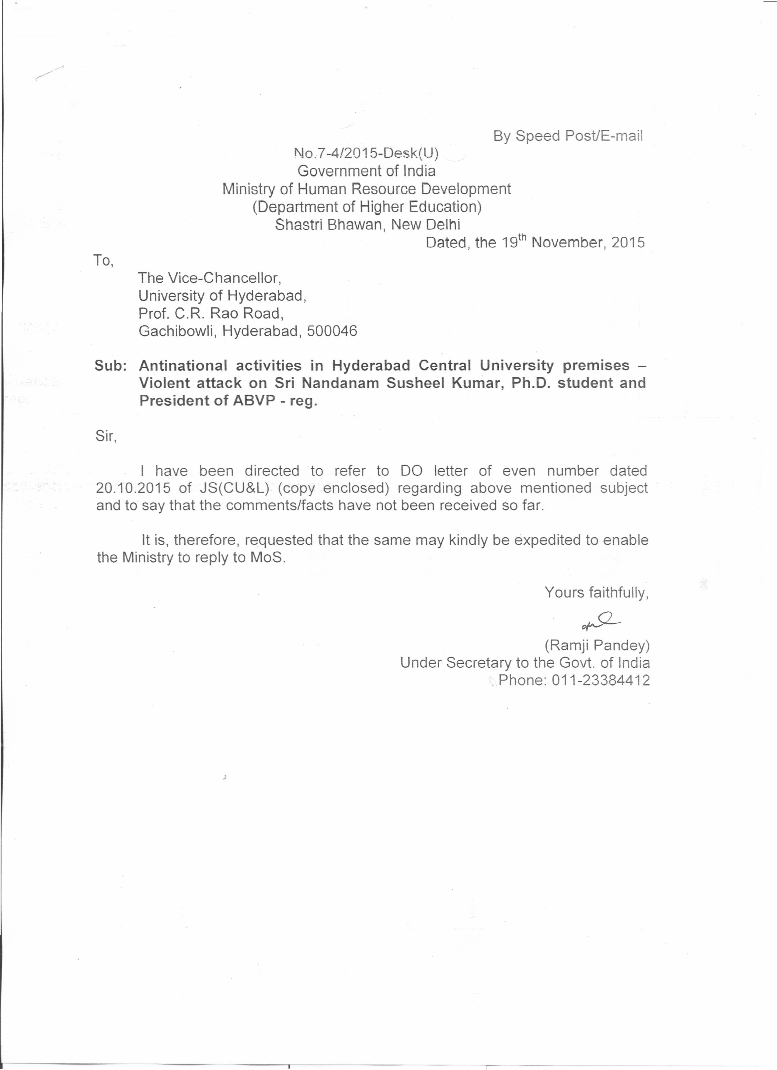 Another letter from the Ministry of Human Resource Development to the VC of Hyderabad University