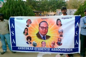 A file picture of a banner of the Ambedkar Students Association
