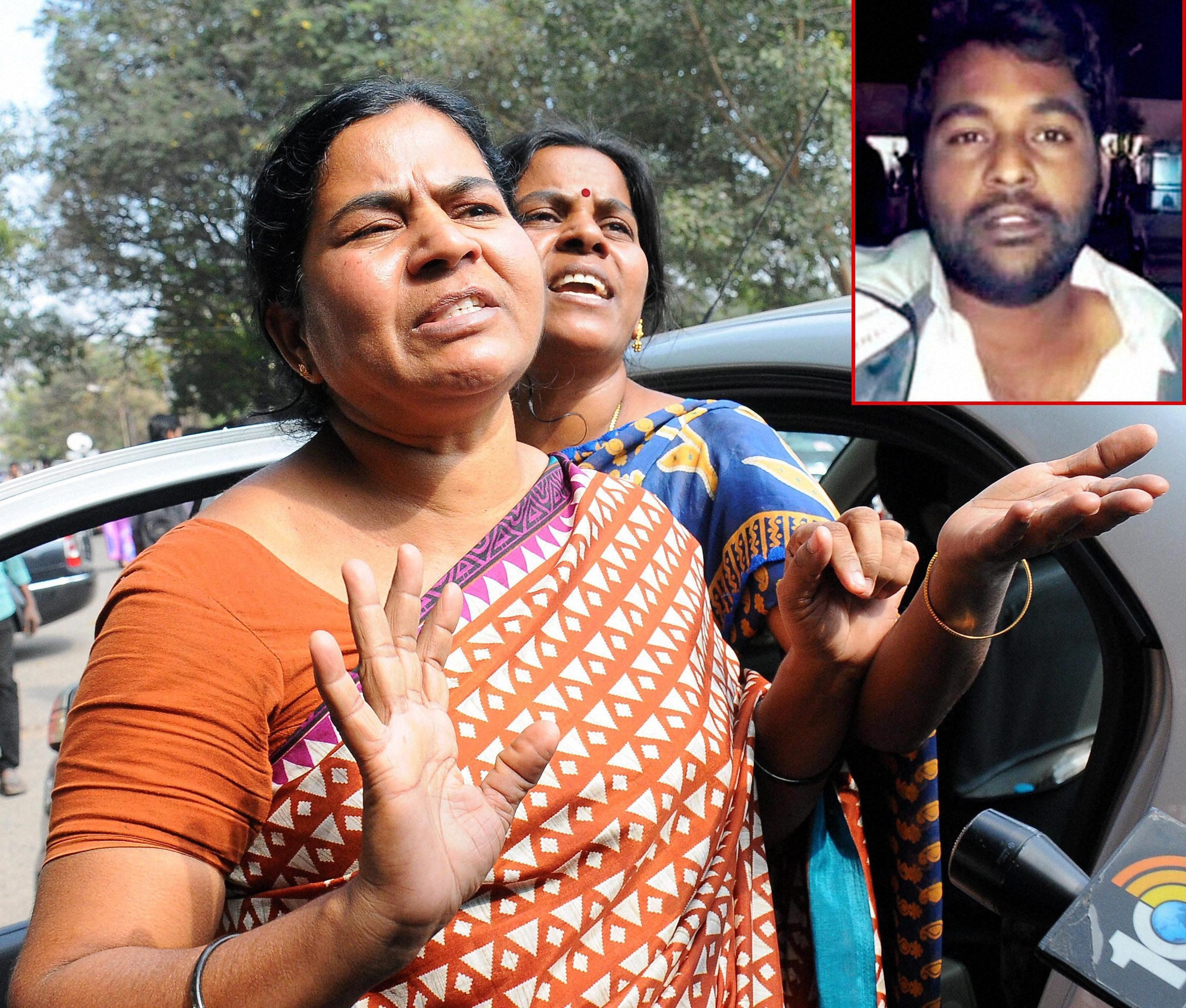 Hyderabad: Mother of Rohith Vemula (inset), a doctoral student at the Hyderabad Central University who was found hanging in a hostel room, speaking to media in Hyderabad on Monday. Credit: PTI