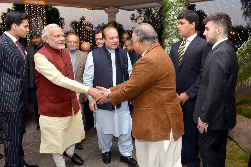 Prime Minister Narendra Modi is greeted at the residence of his Pakistani counterpart Nawaz at Raiwind in Lahore on December 25, 2015. Credit: PTI