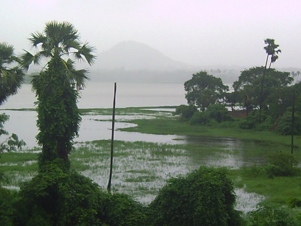 Powai Lake overflowing after the rains of 26-27 July 2005