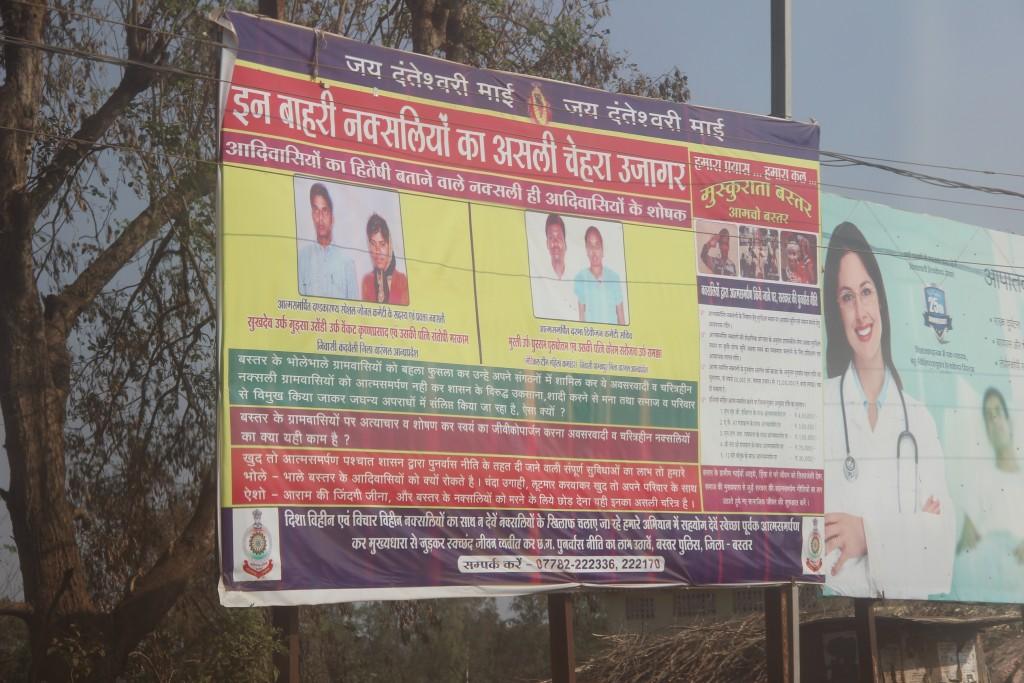 An anti-Maoist billboard by the police in Bastar. Photo credit: Chitrangada Choudhury