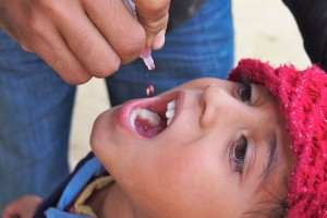 A child receiving a dose of the oral polio vaccine, 2013. Credit: cdcglobal/Flickr, CC BY 2.0