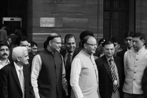 Finance minister Arun Jaitley outside North Block on budget morning. Credit: Shome Basu