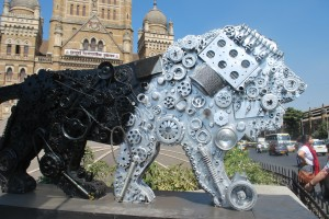 The Gear Lion, a mascot of Make in India, positioned outside Mumbai's Municipal Corporation. Credit: Wire files