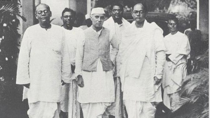 Subhas Chandra Bose (right) with Jawaharlal Nehru and Sarat Chandra Bose. Credit: Nehru Memorial Museum & Library