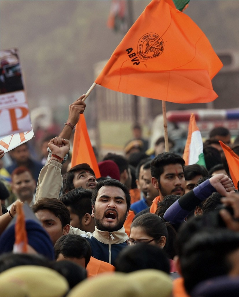 ABVP activists protest against an event at JNU commemorating the hanging of Parliament attack convict Afzal Guru in New Delhi on Friday. Credit: PTI