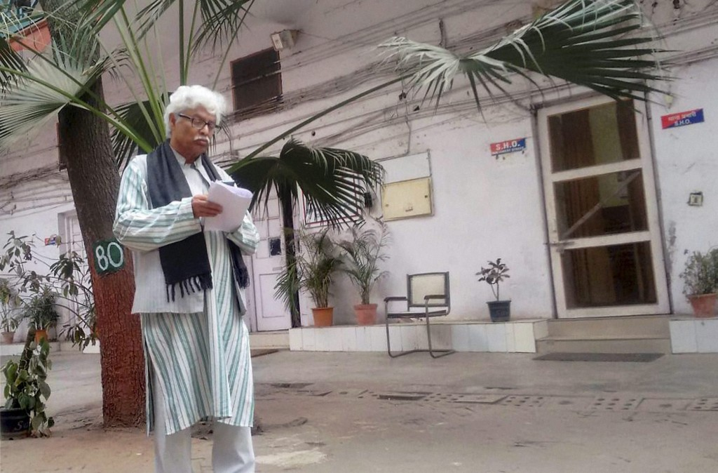Delhi University Professor Ali Javed, member of the Press Club who had booked the premises for an event where a section of the audience raised controversial slogans, at Parliament Street Police Station in New Delhi on Friday. Credit: PTI