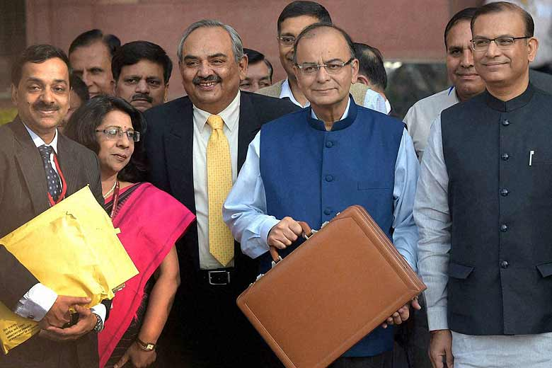 Finance Minister Arun Jaitley with MoS Jayan Sinha ahead of presenting the 2015-16 Budget. Credit: PTI