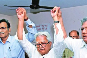 CPI(M) West Bengal secretary Suryakant Mishra (left) with his predecessor Biman Bose and the party's general secretary Sitaram Yechury. Credit: PTI