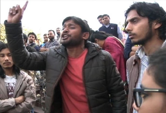 A screen grab of JNU student Kanhaiya Kumar who has been arrested on charges of sedition.