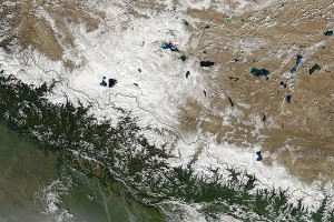 NASA's Aqua satellite passed over the Himalayan Mountains, the MODIS instrument captured this image of snow on the ground in October 2014. Credit: NASA