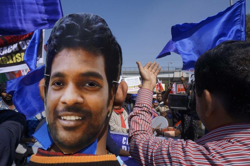 Students at a march demanding justice for Hyderabad University student Rohith Vemula