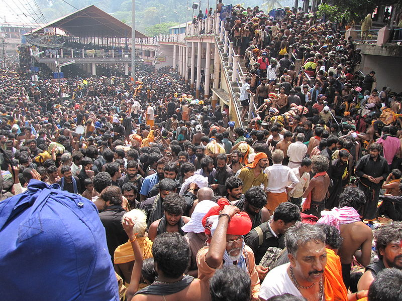 Massive crowds outside the Sabarimala temple in Kerala. Credit: Avsnarayan, Wikipedia commons