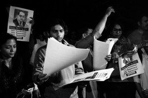 Protesting the arrest of Kanhaiya Kumar and other JNU students, and the 'institutional killing' of Rohith Vemula, a dalit research scholar at Hyderabad University, in Delhi last week. Credit: Shome Basu