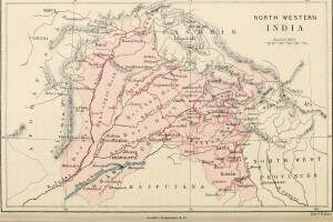 Map of the rivers of undivided Punjab, circa 1890