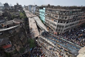 An aerial view of the site in Kolkata where an under-construction flyover collapsed on Vivekananda Road in Kolkata on March 31. Credit: PTI
