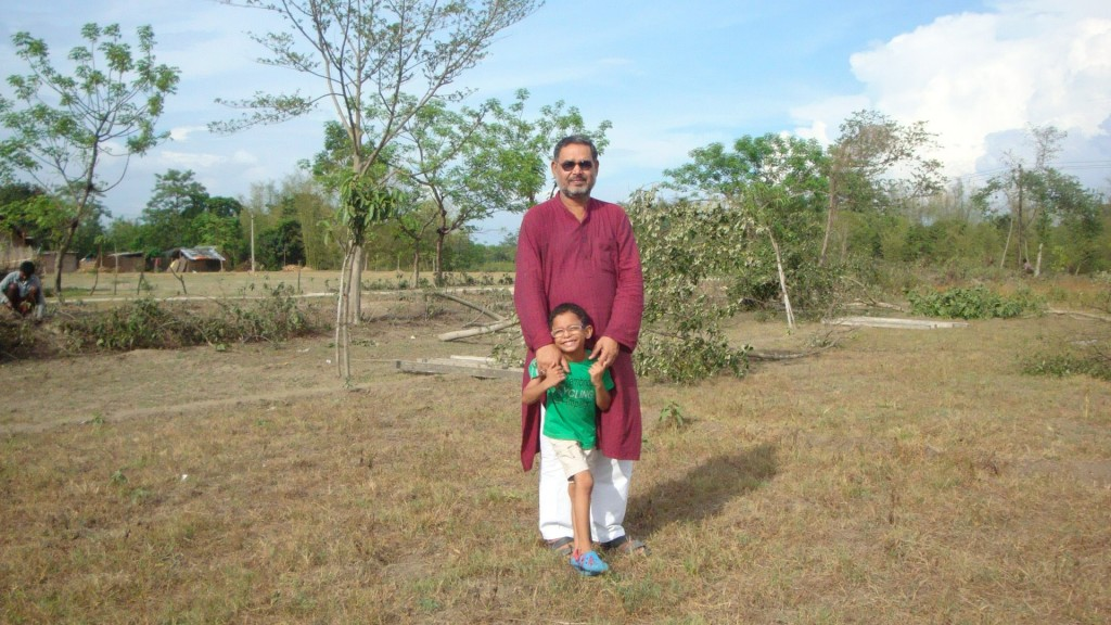 Teaching multilingualism: The author's father with his grandson.