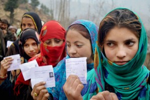 Voters stand in a queue to cast their votes in the assembly elections at Shangus in south Kashmir in 2014.  Credit: PTI