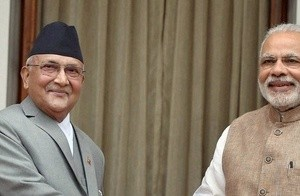 Prime Minister Narendra Modi and his Nepalese counterpart K P Oli seen at their meeting last month. Credit: PTI