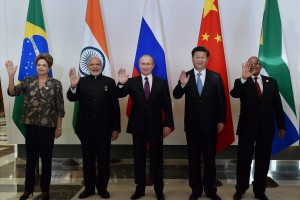 Narendra Modi and fellow BRICS heads of state. Credit: PTI