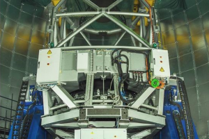 The Devasthal optical telescope's supporting structure, which also hosts three detectors, under a protective dome. Credit: IIST