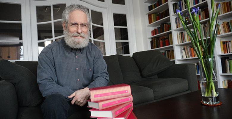 Sheldon Pollock, and the first set of volumes from the Murty Classical Library that he edited. Credit: Columbia Universityu