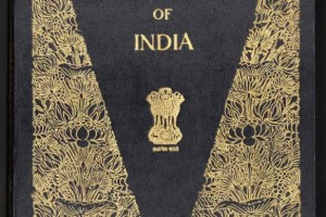 The cover of the calligraphic edition of the Indian Constitution with illustrations representing the styles of the subcontinent's various civilisations. The calligraphy of this edition was done by Prem Behari Narain Raizada, which was illuminated by Nandalal Bose and other artists. Credit: Government of India