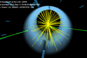This image shows a collision event with a photon pair observed by the CMS detector in proton-collision data collected in 2015 with no magnetic field present. The energy deposits of the two photons are represented by the two large green towers. The mass of the di-photon system is between 700 and 800 GeV. The candidates are consistent with what is expected for prompt isolated photons. Caption & credit © 2016 CERN