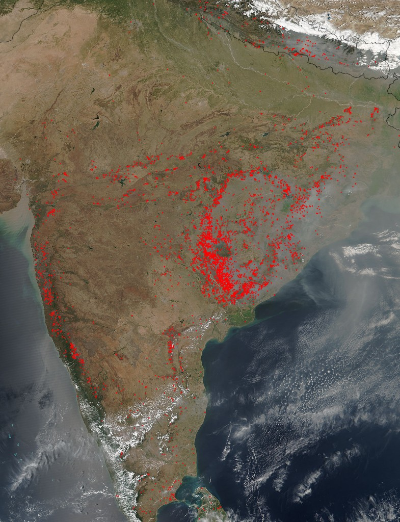 Satellite image on March 22. Credit: NASA image courtesy Jeff Schmaltz LANCE/EOSDIS MODIS Rapid Response Team, GSFC