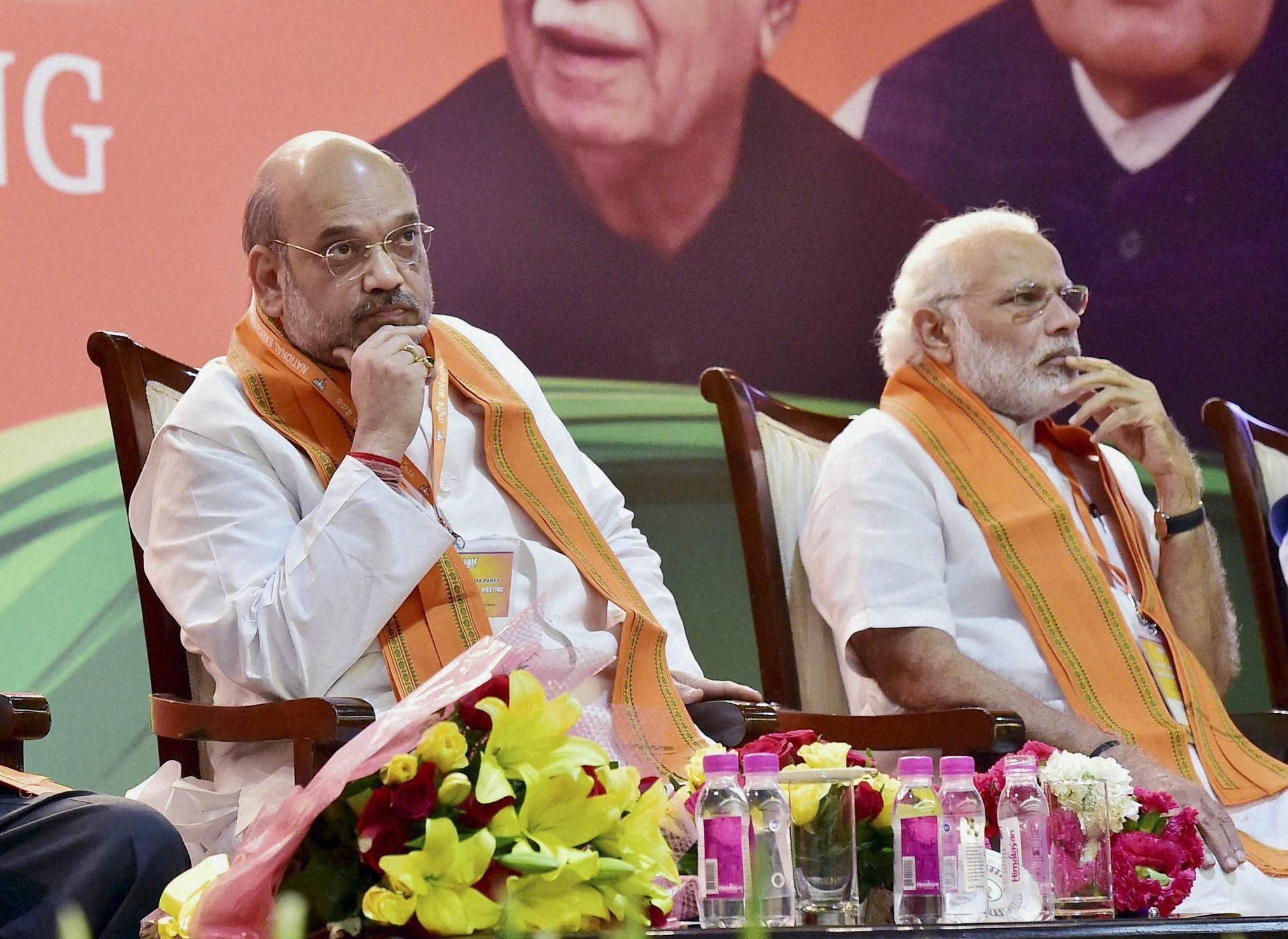 Prime Minister Narendra Modi and BJP president Amit Shah at the party's national executive meeting in Delhi in March. Credit: PTI
