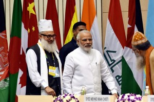 Prime Minister Narendra Modi at the World Sufi Forum in New Delhi. Credit: PTI Photo by Vjay Verma