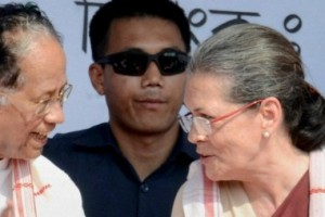 Congress president Sonia Gandhi and Assam Chief Minister Tarun Gogoi at a public meeting in Biswanath Assembly constituency in Sonitpur district, Assam on Wednesday. Credit: PTI
