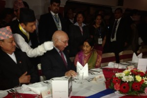 Sushma Swaraj and Sartaj Aziz at the SAARC ministerial dinner in Pokhara, Nepal on Wednesday, March 16, 2016. Credit: Devirupa Mitra