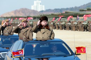 North Korean leader Kim Jong Un salutes as he arrives to inspect a military drill at an unknown location. Credit: Reuters/KCNA