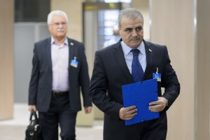 Members of the Syrian opposition delegation of the High Negotiations Committee (HNC) George Sabra (L) and delegation head Asaad Al-Zoubi arrive for a meeting with U.N. mediator on Syria Staffan de Mistura during Syria peace talks at the United Nations in Geneva, Switzerland, April 15, 2016. Credit: Reuters/Fabrice Coffrini/Pool