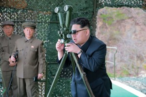 North Korean leader Kim Jong Un guides, on the spot, the underwater test-fire of strategic submarine ballistic missile in this undated photo released by North Korea's Korean Central News Agency (KCNA) in Pyongyang on April 24, 2016. KCNA/via REUTERS.
