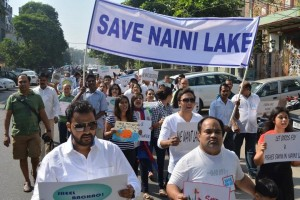 Delhi residents have been campaigning for over a year. Credit: Save Naini Lake Facebook/ www.thethirdpole.net