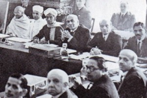 B.R. Ambedkar and M.K. Gandhi at the 1931 Roundtable Conference.