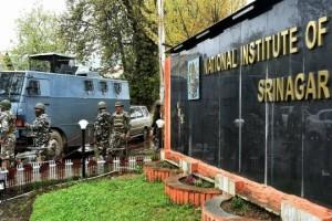 CRPF forces outside NIT Srinagar. Credit: PTI