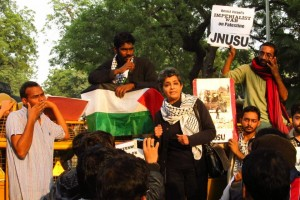 Nivedita Menon at a 2012 protest against Israeli policies towards Palestine. Credit: Anand Krishnan