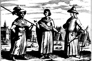 """Left and Centre: """"Dress of the Kingdom of Necbal."""" Right. """"A Northern Tartar."""" From China Illustrata by Athanius Kircher, 1667. Credit: Wikimedia Commons"""