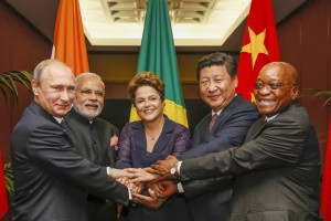 The BRICS leaders in 2014. Left to right: Putin, Modi, Rousseff, Xi and Zuma. Credit: Wikimedia Commons.