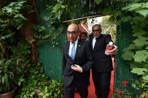 Pakistan's High Commissioner to India Abdul Basit and its minister (information) Manzoor Memon leave the Foreign Correspondents Club after an  interaction with the media in New Delhi on Thursday. Credit:  PTI Photo by Vijay Verma